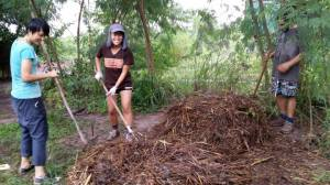 Working on the compost